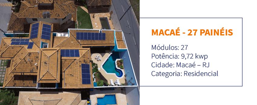 Instalação de energia solar em Macaé - 27 painéis solares