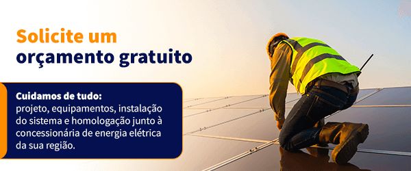 """Banner no artigo """"O que é energia fotovoltaica"""" para orçamento Alpha Solar"""