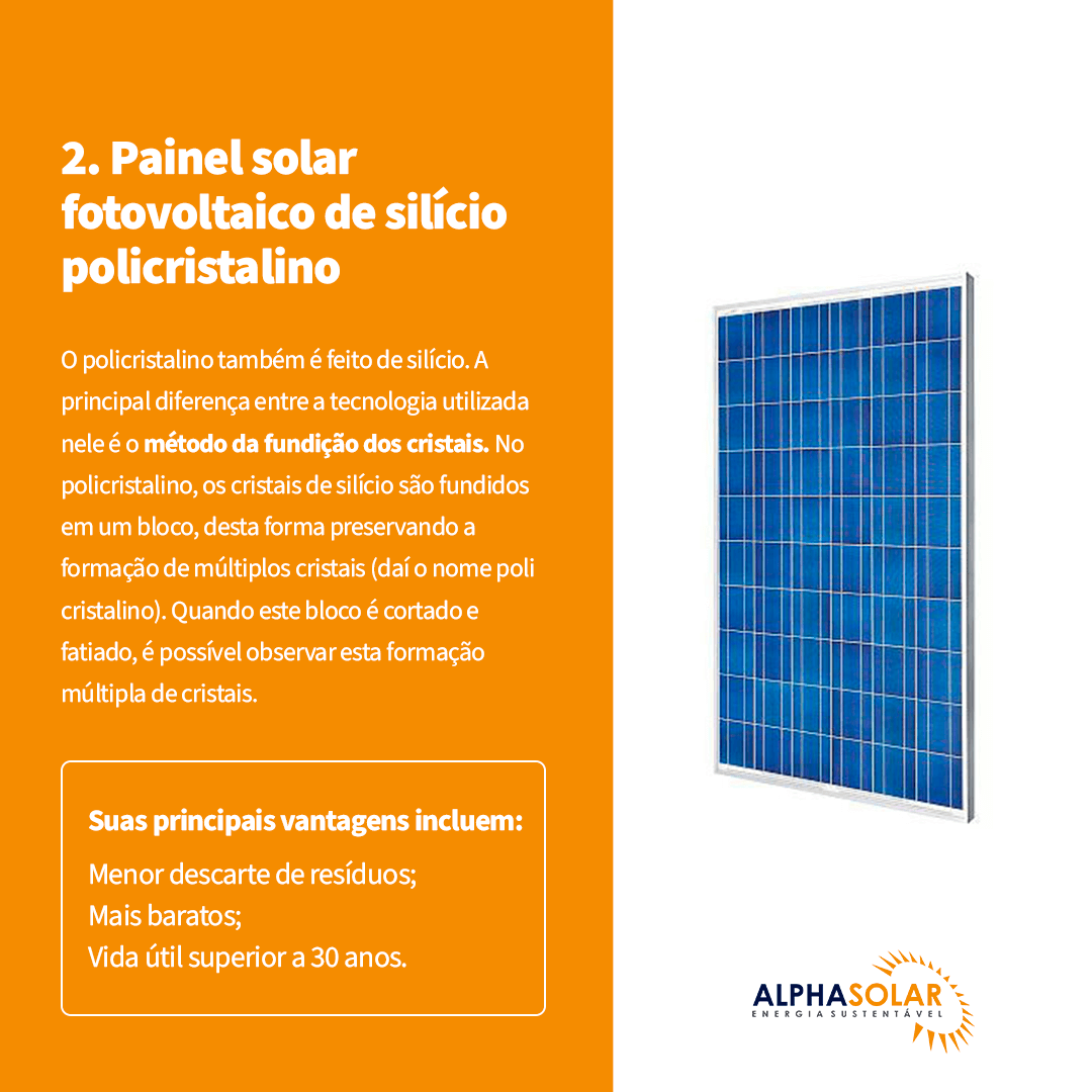 Painel solar fotovoltaico de silício policristalino